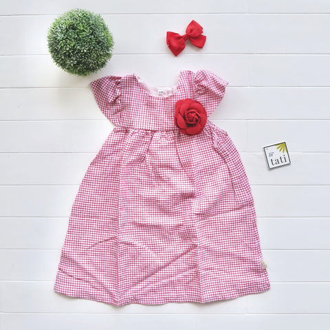 Magnolia Dress in Red Tattersall Linen-Lil' Tati