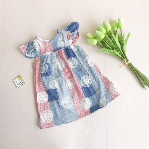 Magnolia Dress in Red Blue Patches Print - Lil' Tati