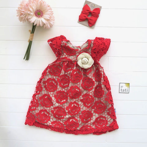 Magnolia Dress in Red Floral Lace-Lil' Tati
