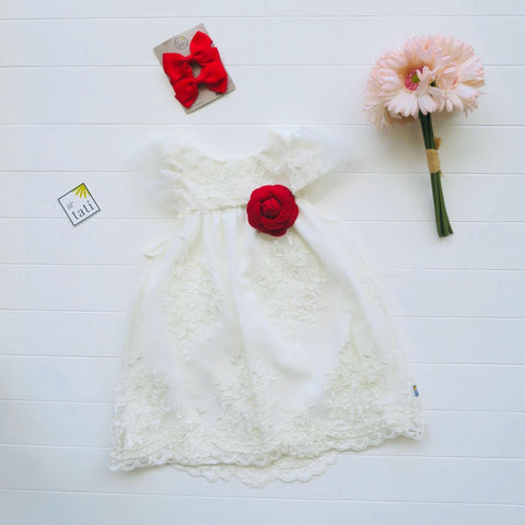 Magnolia Dress in White Embroidery Tulle-Lil' Tati