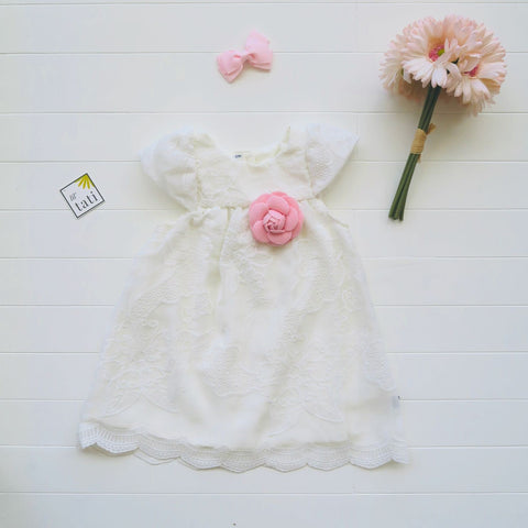 Magnolia Dress in White Embroidery Pattern Tulle-Lil' Tati