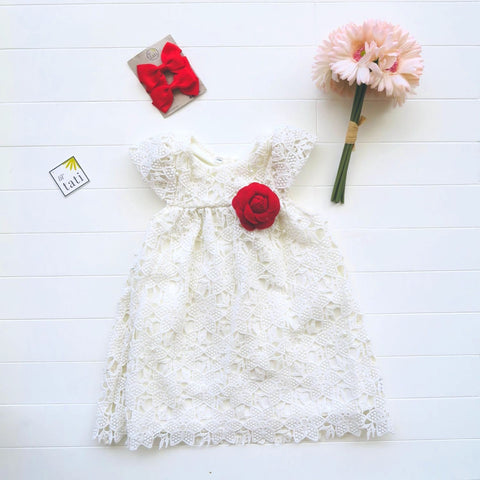 Magnolia Dress in White Pearl Eyelet-Lil' Tati