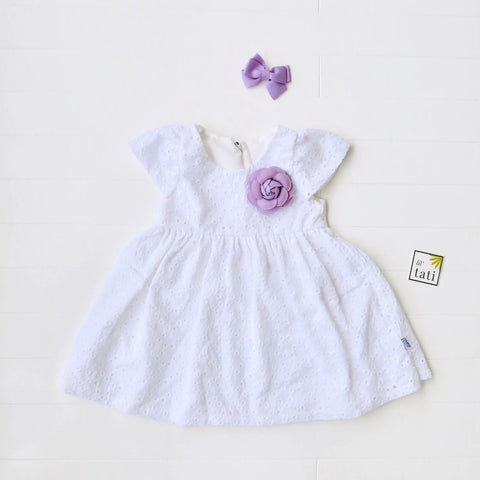 Lotus Dress in White Polka Eyelet-Lil' Tati