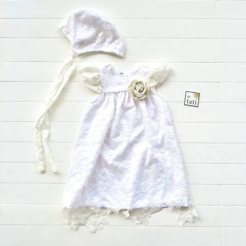 Magnolia Christening Set in Fine Lace Tulle Galaxy White Lace