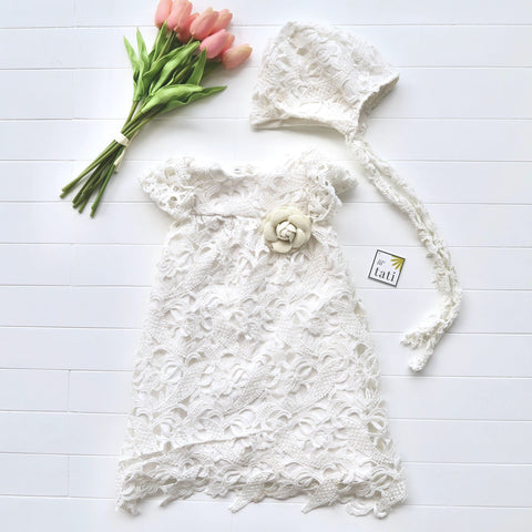 Magnolia Christening Set in Paisley White Cotton Eyelet-Lil' Tati