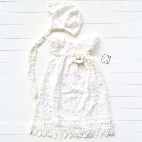 Magnolia Christening Set in Pattern Layer Cotton Lace