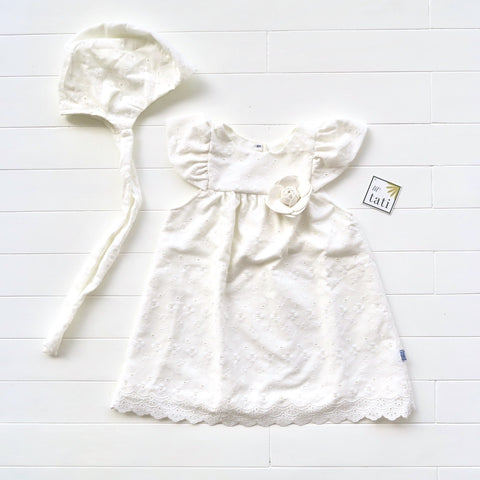 Magnolia Christening Set - Short in Flower Leaf Vine Eyelet