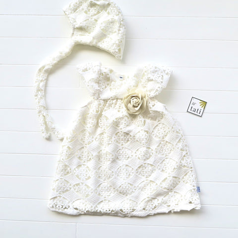 Magnolia Christening Set - Short in Oblong Floral Cotton Lace