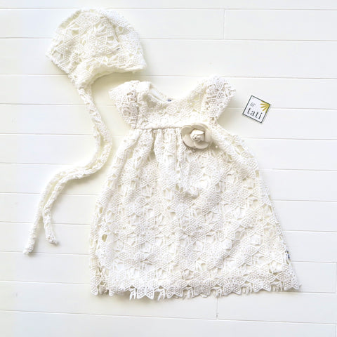 Magnolia Christening Set - Short in Pearl Eyelet White