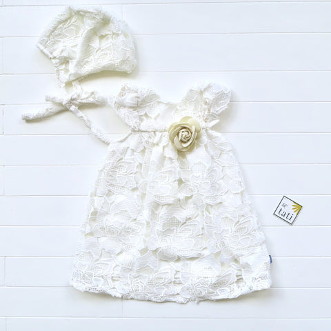 Magnolia Christening Set - Short in Rose Eyelet Fold Lace