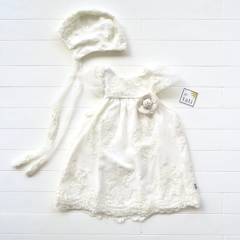 Magnolia Christening Set - Short in White Tulle Embroidery