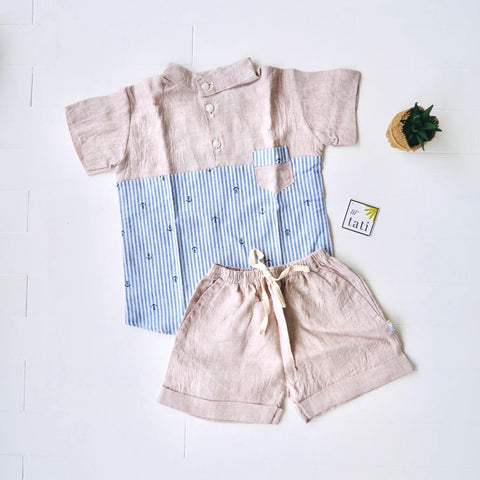 Maple Top & Shorts in Anchor Stripes and Dark Beige Linen-Lil' Tati