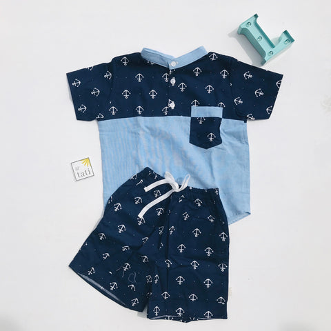 Maple Top & Shorts in Anchor Blue/Linen - Lil' Tati