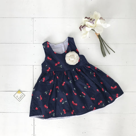 Iris Dress in Mini Cherries Blue Print-Lil' Tati
