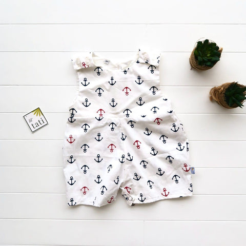 Oak Playsuit in Anchor White Print-Lil' Tati