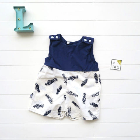 Oak Playsuit in Navy Stretch and Race Car White Print