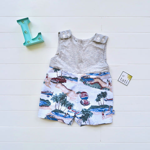 Oak Playsuit in Gray Stretch and Beach Time