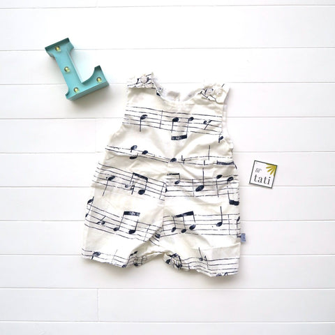 Oak Playsuit in Musical Notes White Print-Lil' Tati