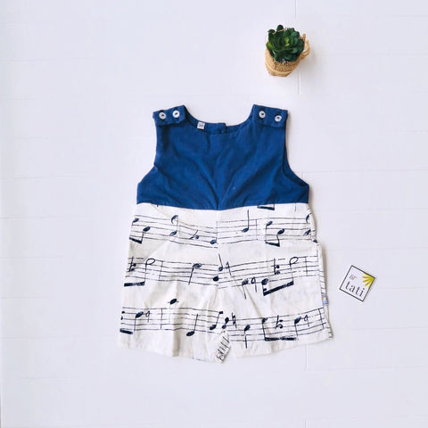 Oak Playsuit in Navy Stretch and Musical Notes White Print-Lil' Tati