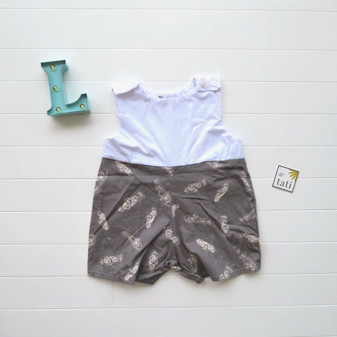 Oak Playsuit in White Stretch and Race Car Gray Print-Lil' Tati