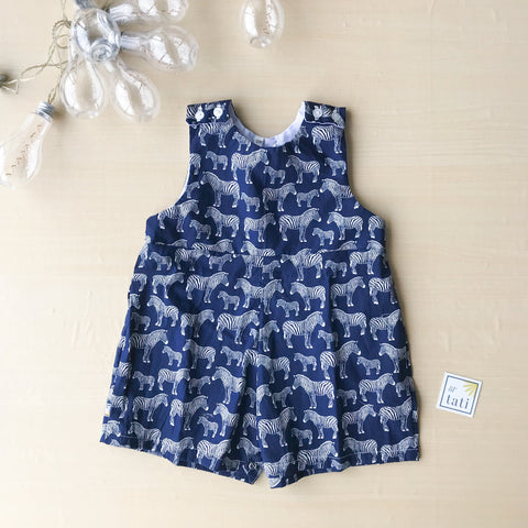 Oak Playsuit in Zebra Navy-Lil' Tati