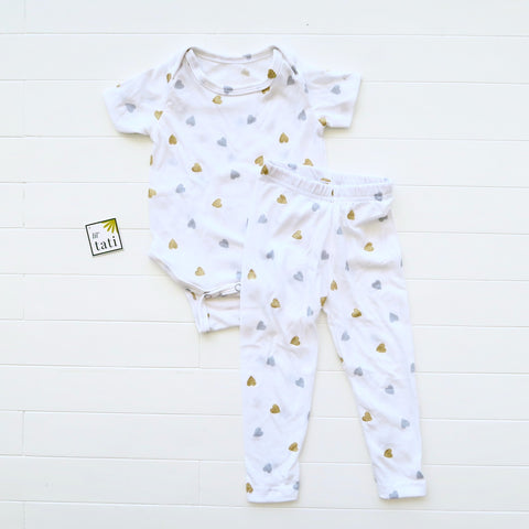 Cotton Stretch Onesie & Leggings Set - Gold Silver Hearts Print