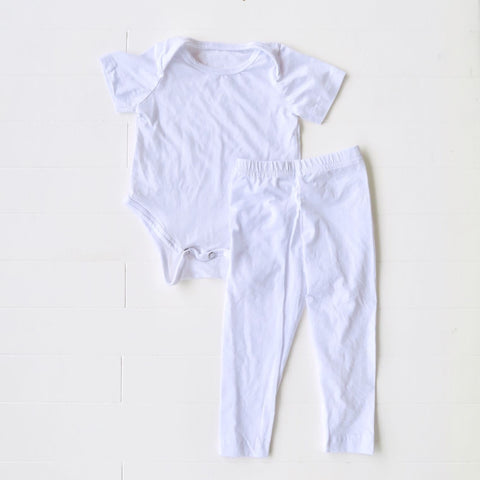Cotton Stretch Onesie & Leggings Set - White-Lil' Tati