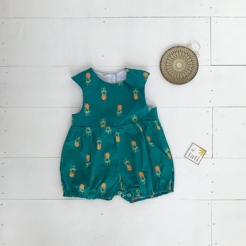 Orchid Playsuit - Cap Sleeves in Bluegreen Pineapple Print-Lil' Tati