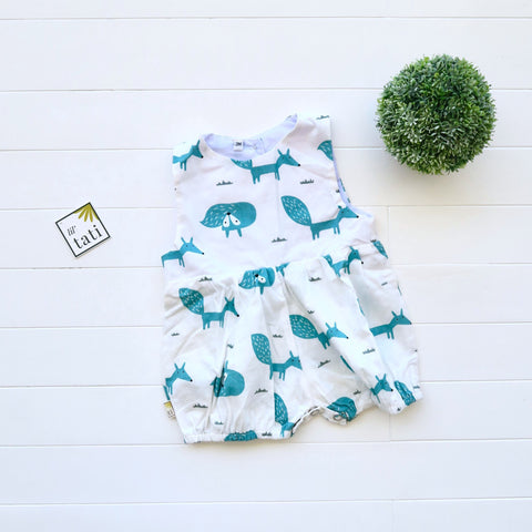 Orchid Playsuit in Cyan Fox Print - Lil' Tati