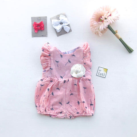 Orchid Playsuit - Ruffle Sleeves in Crepe - Dandelion Pink-Lil' Tati