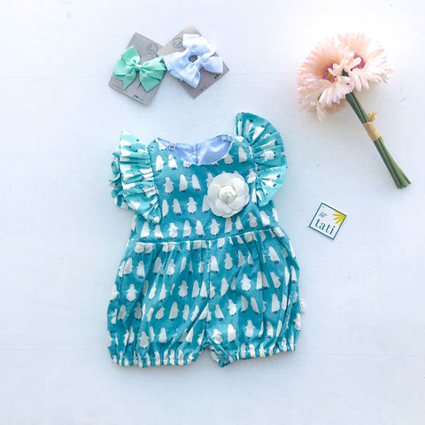 Orchid Playsuit - Ruffle Sleeves in Penguin March Mint - Lil' Tati