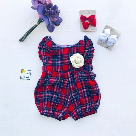 Orchid Playsuit - Ruffle Sleeves in Red Tartan-Lil' Tati