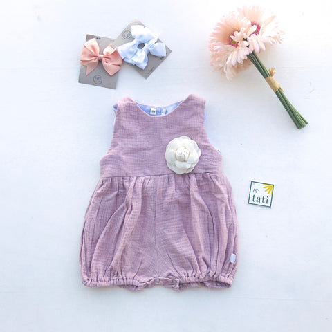 Orchid Playsuit in Crepe - Light Old Rose