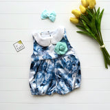 Orchid Playsuit - Collar in Blue Feather Sateen-Lil' Tati