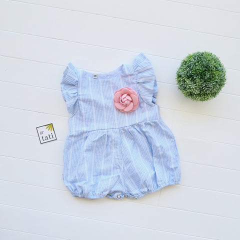 Orchid Playsuit - Ruffle Sleeves in Linen Blue Stripes-Lil' Tati