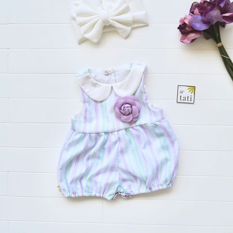 Orchid Playsuit - Collar in Purple Mint Stripes-Lil' Tati