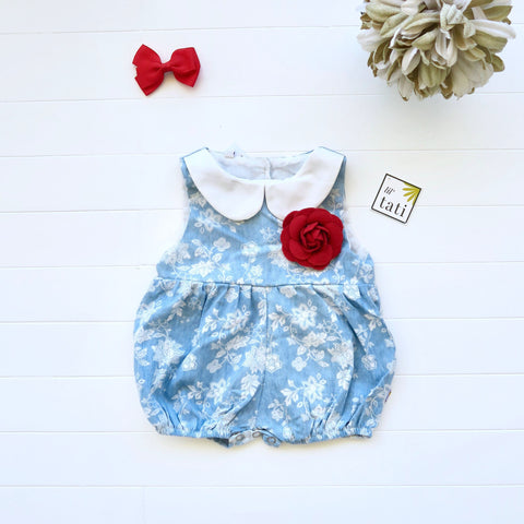 Orchid Playsuit - Collar in Soft Denim Floral - Lil' Tati