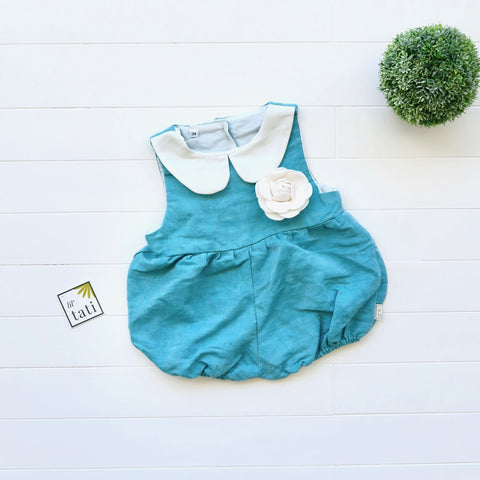 Orchid Playsuit - Collar in Teal Linen-Lil' Tati