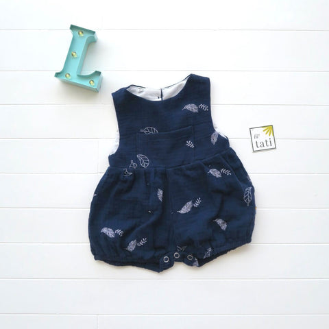 Orchid Playsuit with Front Pocket in Crepe - Leafy Dark Blue-Lil' Tati