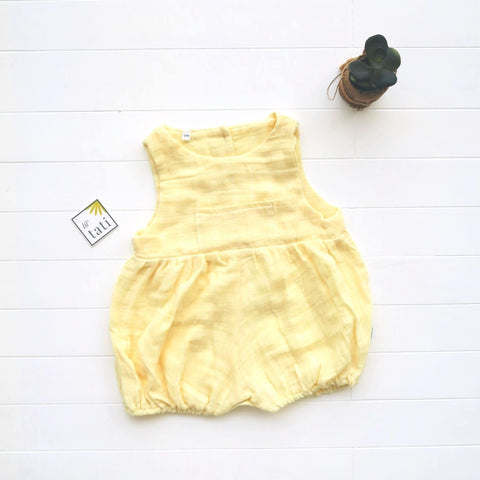 Orchid Playsuit with Front Pocket in Organic Muslin - Yellow-Lil' Tati