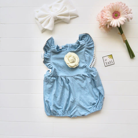 Orchid Playsuit - Pompom Ruffle Sleeves in Light Blue Cotton Stretch-Lil' Tati