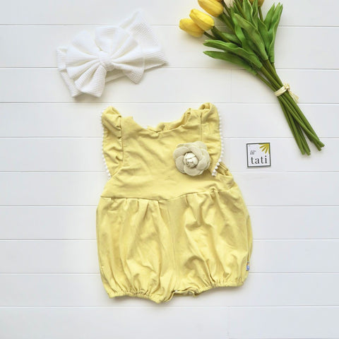 Orchid Playsuit - Pompom Ruffle Sleeves in Yellow Cotton Stretch-Lil' Tati
