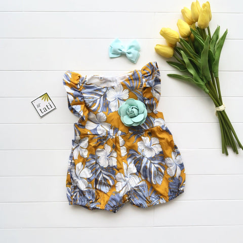 Orchid Playsuit - Ruffle Sleeves in Aloha Yellow-Lil' Tati