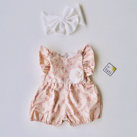 Orchid Playsuit - Ruffle Sleeves in Lovely Peach Roses-Lil' Tati