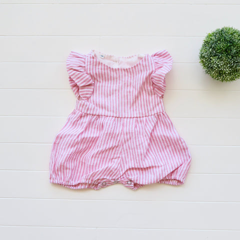 Orchid Playsuit - Ruffle Sleeves in Arcadia Red Stripes-Lil' Tati