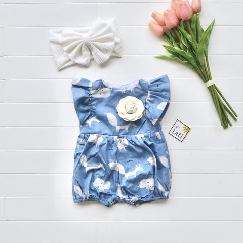 Orchid Playsuit - Ruffle Sleeves in Blue Fox-Lil' Tati