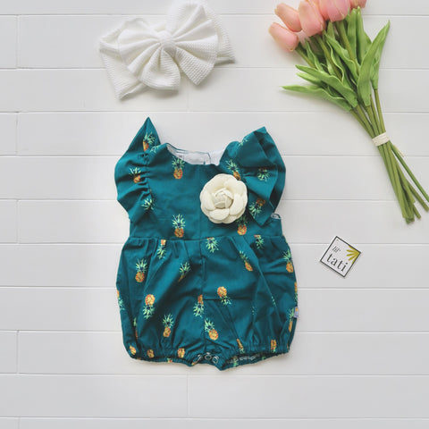 Orchid Playsuit - Ruffle Sleeves in Bluegreen Pineapple Print-Lil' Tati