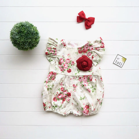 Orchid Playsuit - Ruffle Sleeves in Little Roses Print-Lil' Tati