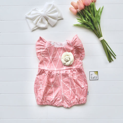 Orchid Playsuit - Ruffle Sleeves in Pink Triangles-Lil' Tati