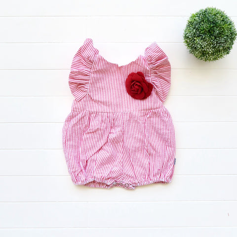 Orchid Playsuit - Ruffle Sleeves in Red Seersucker-Lil' Tati
